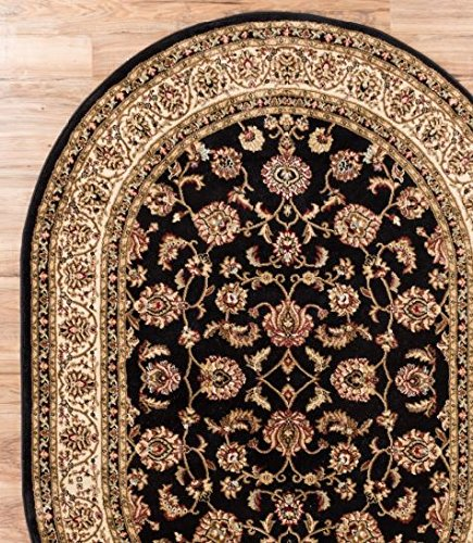 Antique Classic Black 5'3'' x 6'10'' OVAL Area Rug Oriental Floral Motif Detailed Classic Pattern Persian Living Dining Room Bedroom Hallway Office Carpet Easy Clean Rug Traditional Soft Plush Quality by Home Way