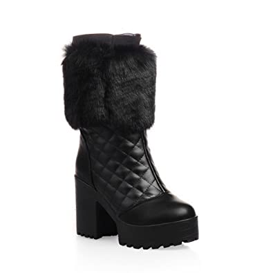 Womens High Heels Mid Top Solid PU Snow Boots