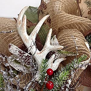 Deer Antlers Winter Holiday Wreath With Iced Greenery Handmade Deco Mesh 3