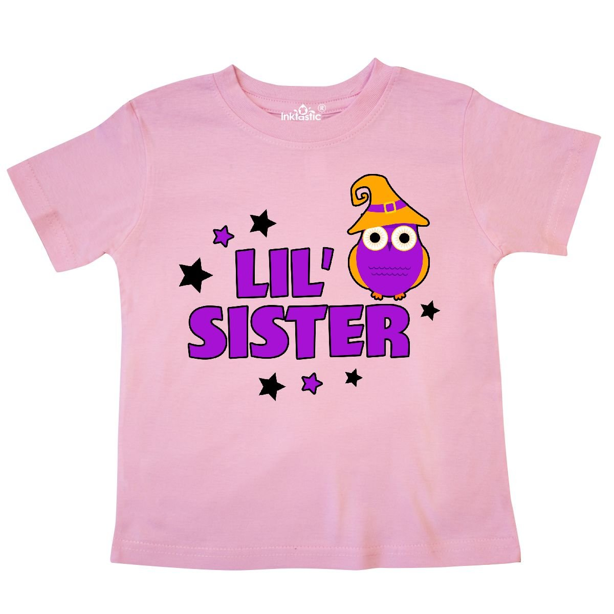 inktastic Halloween Lil Sister with Owl and Stars Toddler T-Shirt