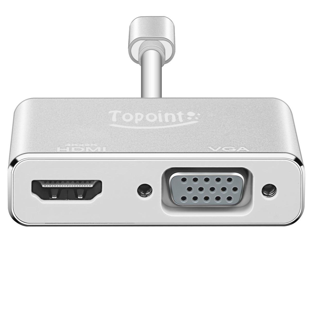 USB 3.1 Typ C auf HDMI VGA Adapter, Topoint Typ C (USB-C, Thunderbolt 3 Kompatibel) auf VGA HDMI (4Kx2K) 2 in 1 Adapterkabel Konverter für Macbook(Nicht unterstützt Macbook pro 2017) / Chromebook Pixel / Microsoft Lumia 950XL