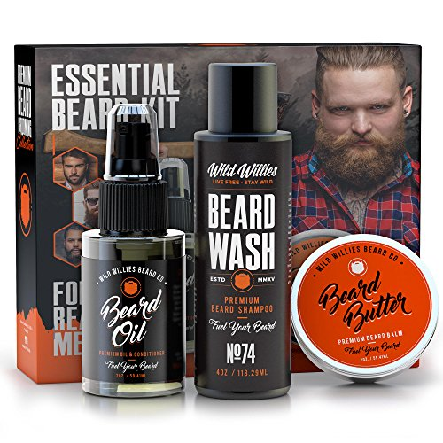 Wild Willies Essential Beard Mustache Grooming Kit For Men  Including Beard Oil  Beard Balm  Beard Wash  For Personal Use Or As A Gift Set
