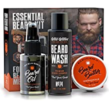 Essential Beard and Mustache Grooming Kit for Men – USA Made Gift Set Soothes Irritated, Dry Skin, Reduces Acne & Grows Your Beard Faster – Beard Oil, Balm Conditioner & Shampoo Wash by Wild Willies