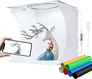 YOTTO Photo Studio Light Box,Photo Shooting Tent kit,Portable Folding Home Photography Light Tent kit with White/Warm/Soft Lighting + 6 Color Backgrounds for Jewellery,Accessories,Toys and Small Items