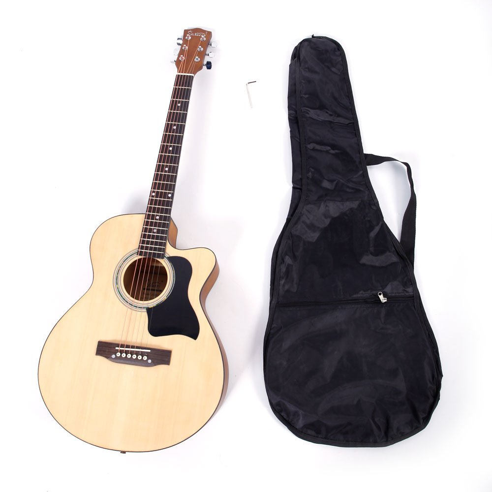 Glarry 6-String Folk Acoustic Guitar for Beginners Music Lovers Students Gift (39', Wood 2)…