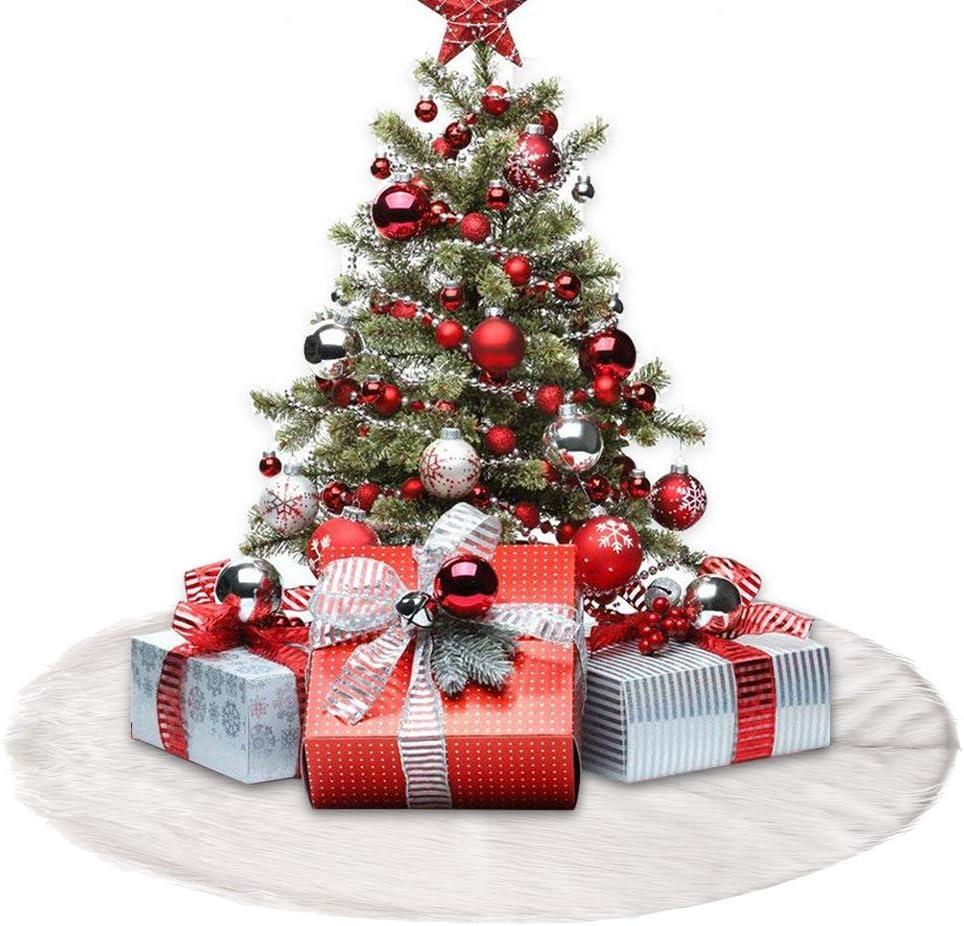 Yous Auto Weihnachtsbaum Rock,122cm Weihnachtsbaumdecke Wei/ß Pl/üsch Weihnachtsdeko Runde christbaumst/änder Teppich Wei/ß-Schnee-WeihnachtsthemaVerzierung 122CM
