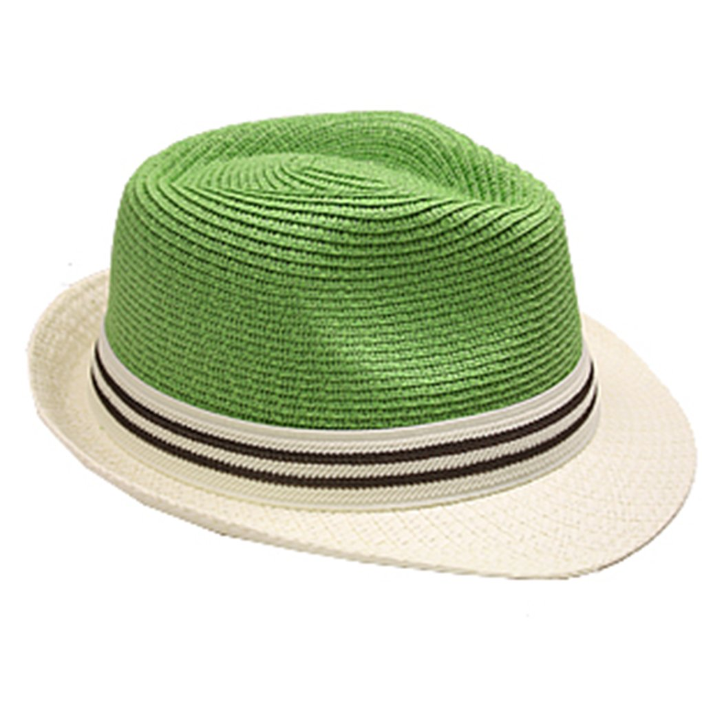 SILVERFEVER Silver Fever Thin Brimmed Woven Fedora Hat (Green Beige w Stripe)