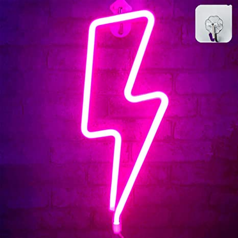 Festival Party Decor Bar Wedding Decor Gift Battery//USB Operated Lightning Lamp AMZMA Pink Lightning Neon Light LED Neon Signs Wall Light Sign Light up for Supplies Home Bedroom Kids Room Christmas