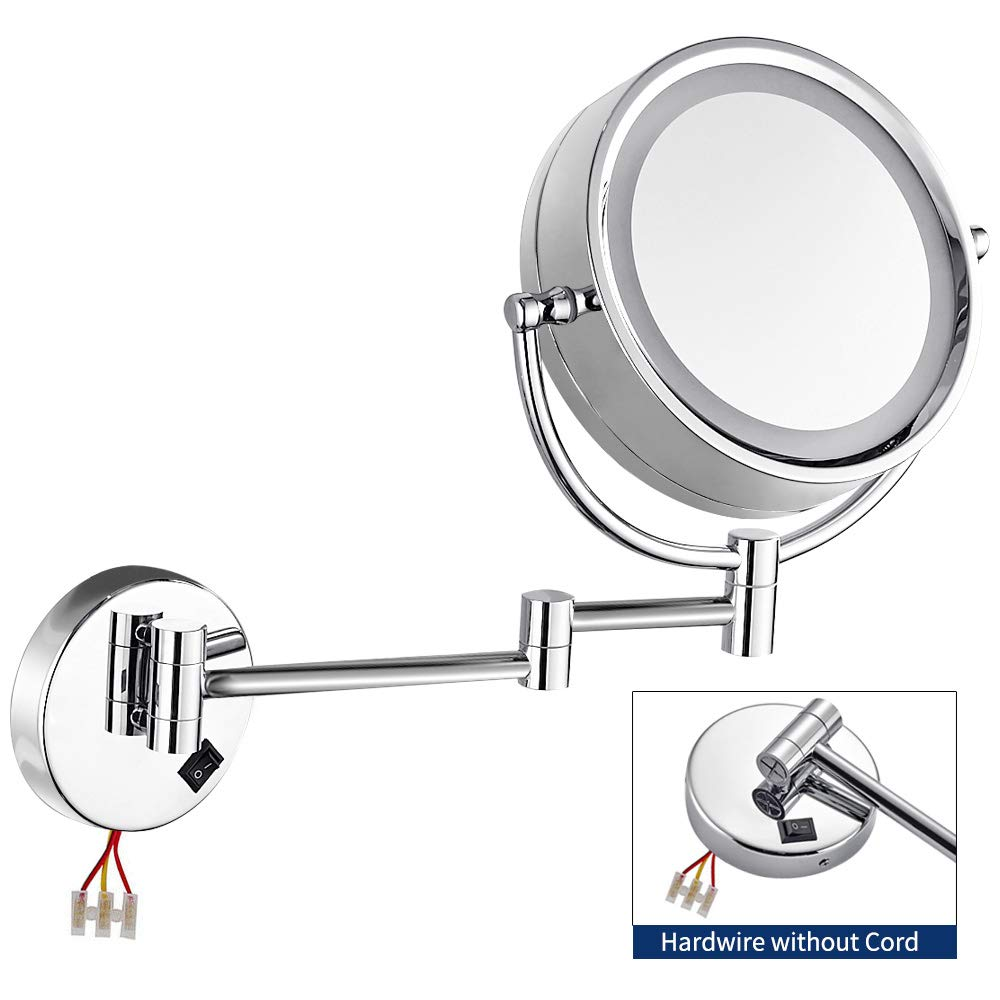 Gecious Wall Mounted Lighted Mirror Magnified Makeup with 10X Magnification/LED Lighted/8 inches/Double Sided/Direct Wire/Chrome Finished