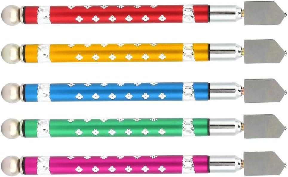 5-teiliger rutschfester Glasschneider aus Aluminiumlegierung Glasschneidwerkzeug Wolframkarbid-Schneidradgriff-Handwerkzeug f/ür Haushalts-//Schneidarbeiten