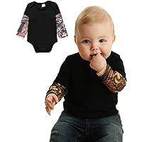 PAUBOLI Body de manga de tatuaje falso para bebé niño de 3 a 24 meses, color gris y negro