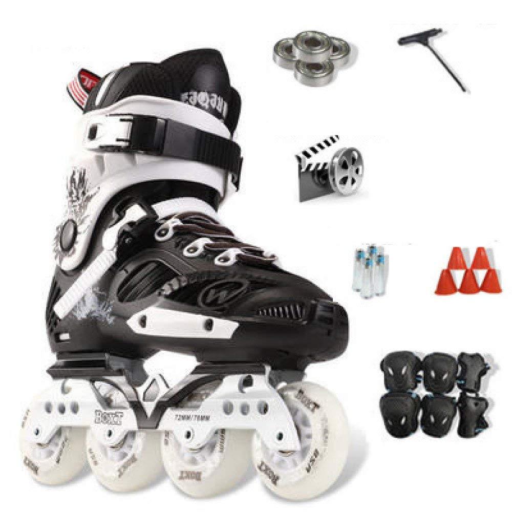 ZYH 大人の子供のための単列ローラースケート男の子女の子初心者4輪トリプルロックメッシュ通気性ローラーブレードブーツ安全パッドヘルメット子供スケートセット (Color : Black-35Yards-Set3)   B07R7MZGDJ