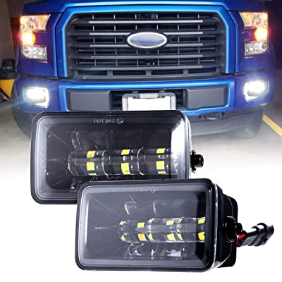 Upgrade LED Fog Lights for 2015-2020 Ford F150 4 Inch LED Fog Light Assembly Kit,36W Waterproof LED Bumper Lamps Set-1 Pair: Automotive