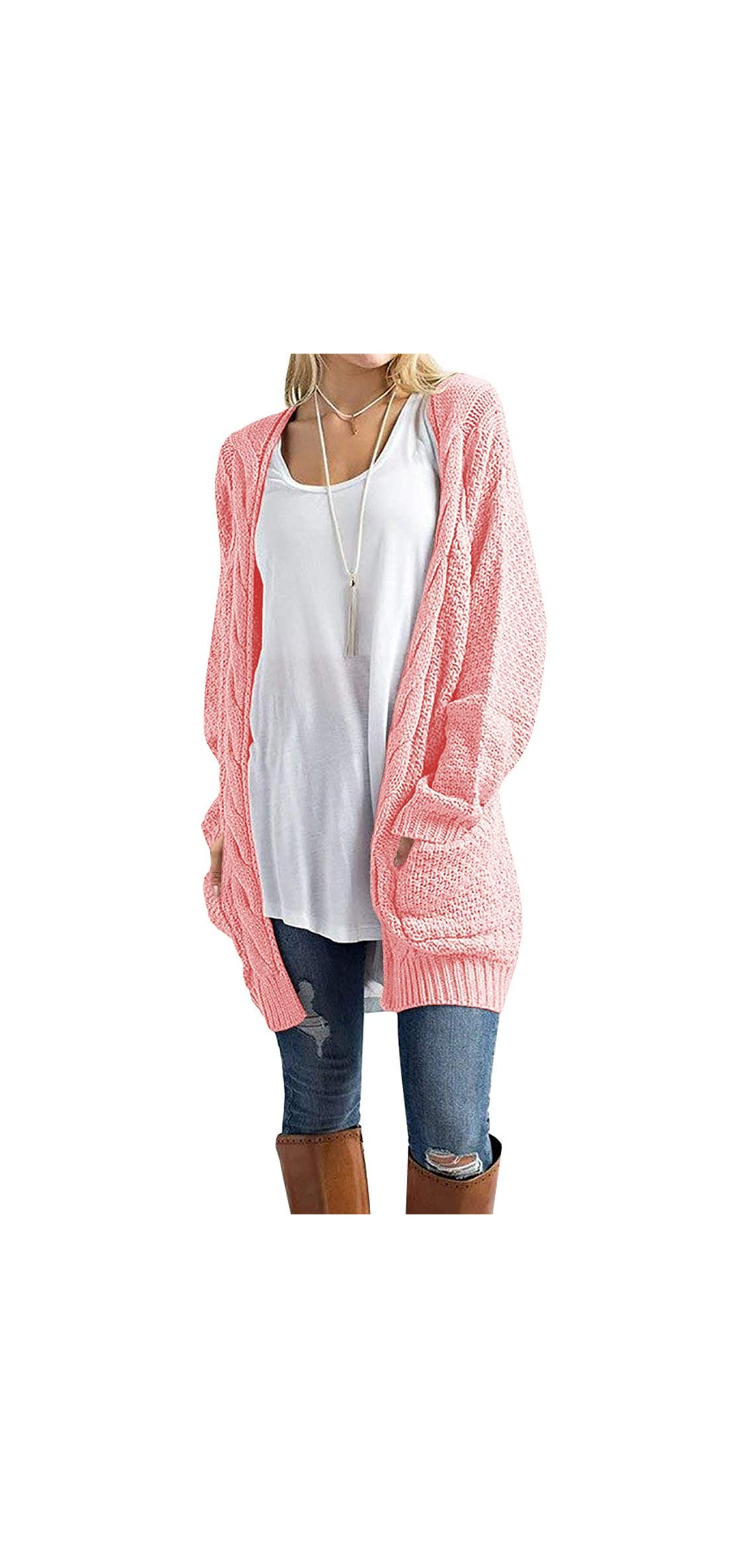 Women's Loose Open Front Long Sleeve Solid Color Knit