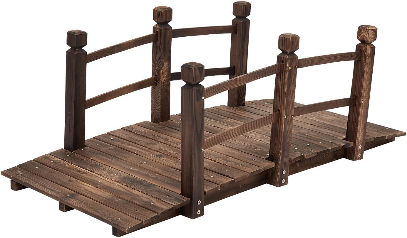 JSUN7 Garden Bridge Wooden 5 ft Footbridge with Railings Wood Arc Bridge for Pond Bridge Backyard Landscaping