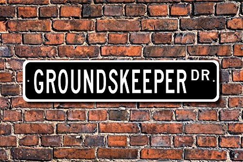 CELYCASY Groundskeeper Groundskeeper Gift Groundskeeper Sign Grounds Maintenance Lawn Care Custom Street Sign Quality Metal Sign
