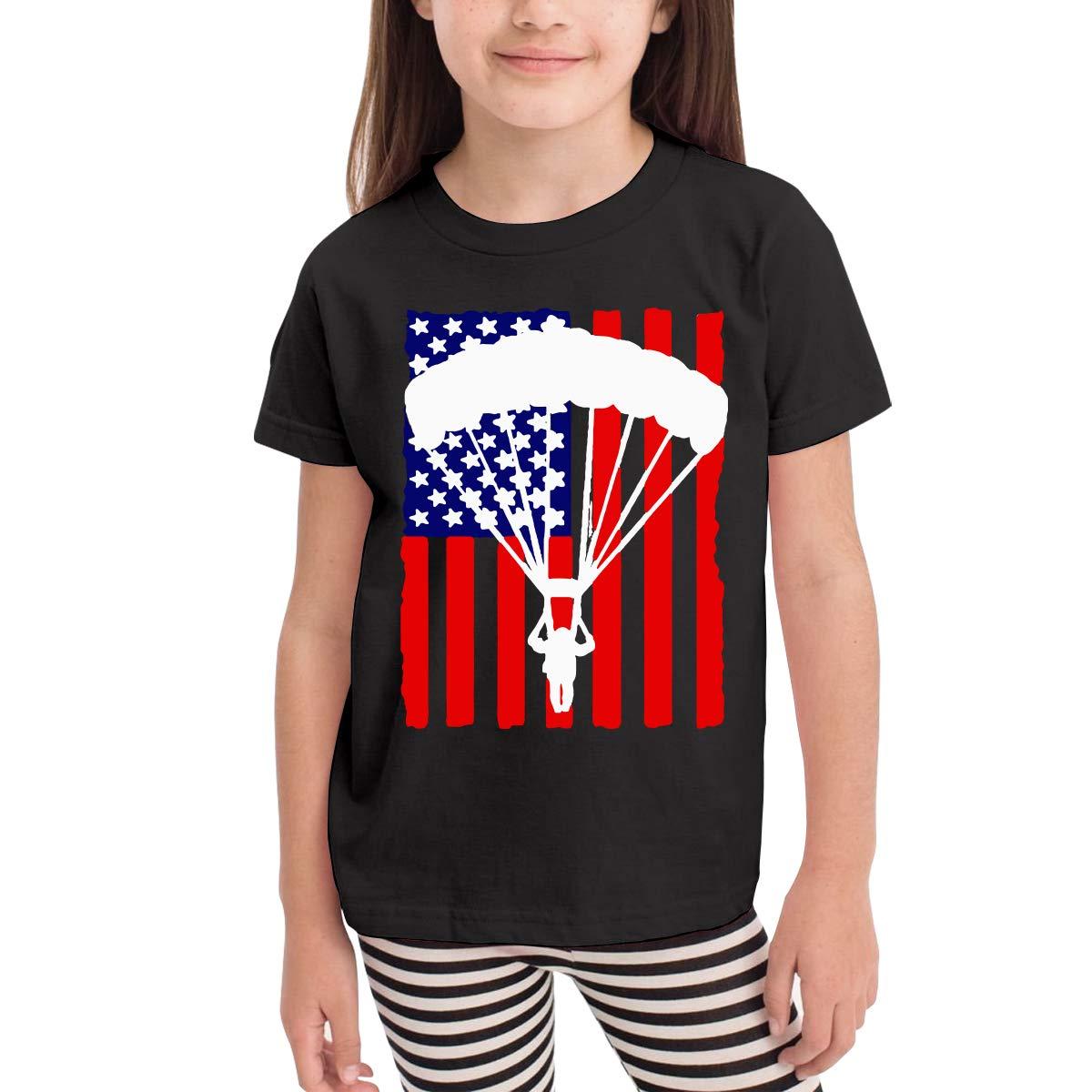 Baby Boys Kids American Parachuting Skydiving USA Flag Soft Short Sleeve Tee Tops Size 2-6