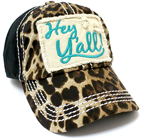 CAPS 'N VINTAGE Leopard & Turquoise Hey Y'all! Patch Embroidery Cap/Vintage Hat