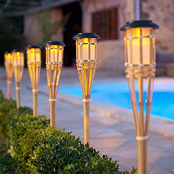 OOFWY LED de luz solar inteligente de control de bambú antorcha jardín luces, 6PCS: Amazon.es: Iluminación