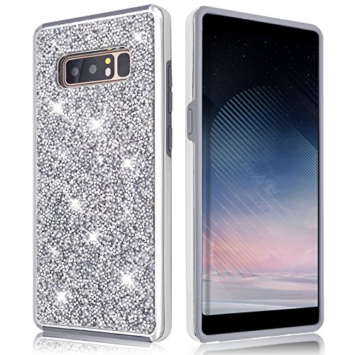Samsung Galaxy Note 8 Case [Free Full Screen Protector] Shiny Glitter Sequin Hard Shell + TPU Rubber Gel Military Drop Proof Case Cover For Samsung Galaxy Note 8 (Silver)