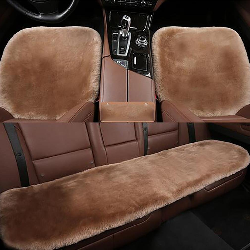 LPY-Genuine Sheepskin+Fibber Universal Car Seat Cushion , teak color