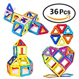 Magnetic Building Blocks, 36 PCS Magnets Construction Stacking Blocks 3D Toddler Toys Preschool Boys Grils Building Tiles Toy Set for Kid's Educational and Creative Imagination Development