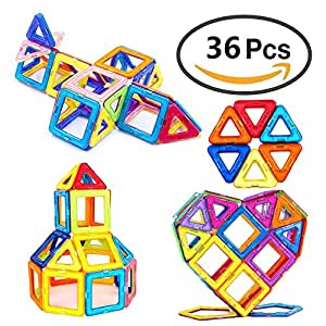 Magnetic Blocks, 36 PCS Magnetic Building Set Creativity Magnetic Educational STEM Construction Toys for Kids Toddlers Children