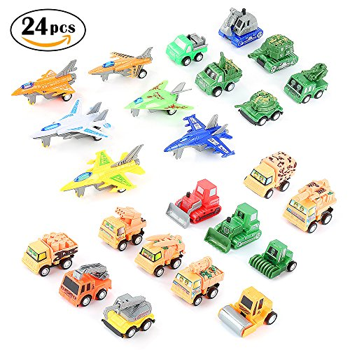 Toy Trucks,24 Pack Pull-Back Vehicles Set Assorted Mini Army Toy Tank,Panzer,Anti-Air Vehicle,Airplane and Construction Vehicles Pull Back and Go Car Toy Set for Kids by WEfun (Plastic Toy Airplanes)