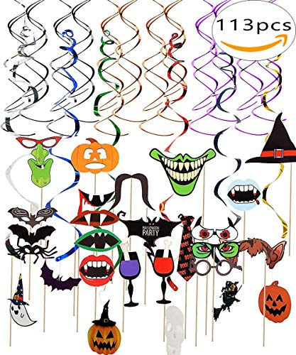(Happy Halloween Creepy Witches Swirl Ceiling Hanging Decoration(54 PCS) and Photo Booth Props 59PCS DIY Kit for)