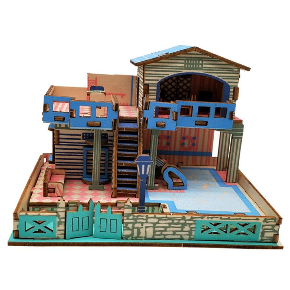 Waymine 3D木製パズル DIYビルディングモデル ドールハウススタイル ハウスジグソーパズル 子供用おもちゃ 37x23x0.5cm Way14761798 B07JZ7VG25  F