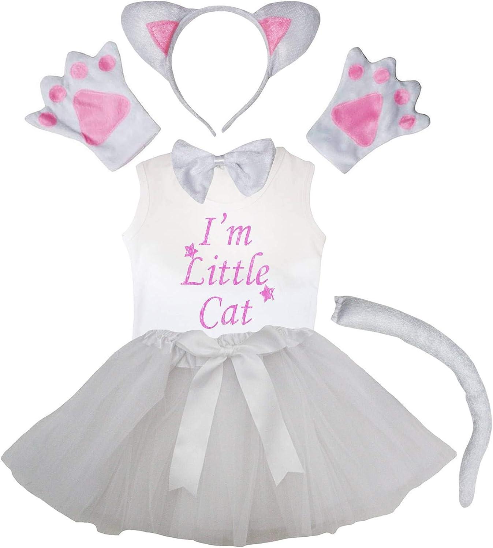Petitebella Combined Animals Headband Gloves Tutu Shirt 6pc Girl Costume 1-8y