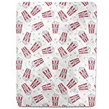 Popcorn Movie Night Fitted Sheet: King Luxury Microfiber, Soft, Breathable