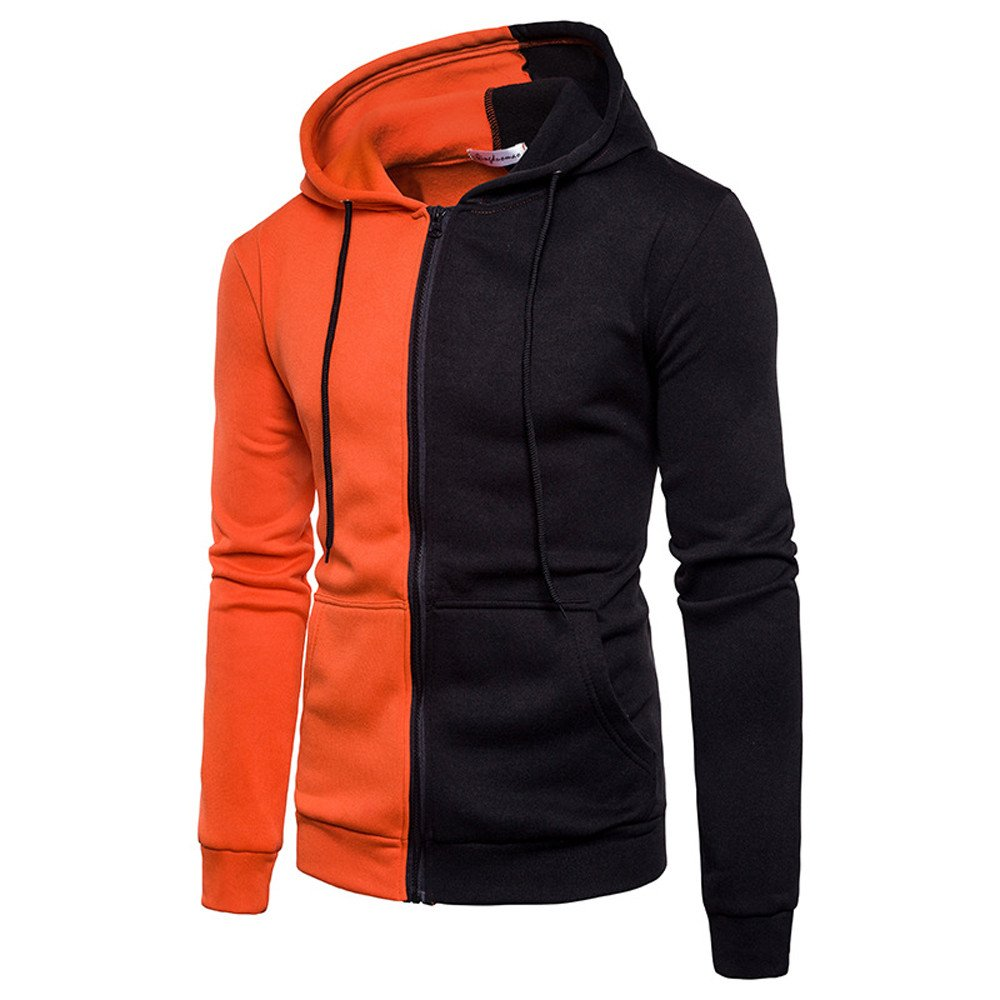 UONQD Men Long Sleeve Hoodie Stitching Zipper Coat Jacket Outwear Sport Tops (Medium,Orange)