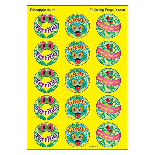 TREND enterprises, Inc. T-6408BN Frolicking Frogs/Pineapple Stinky Stickers, 60 Per Pack, 12 Packs