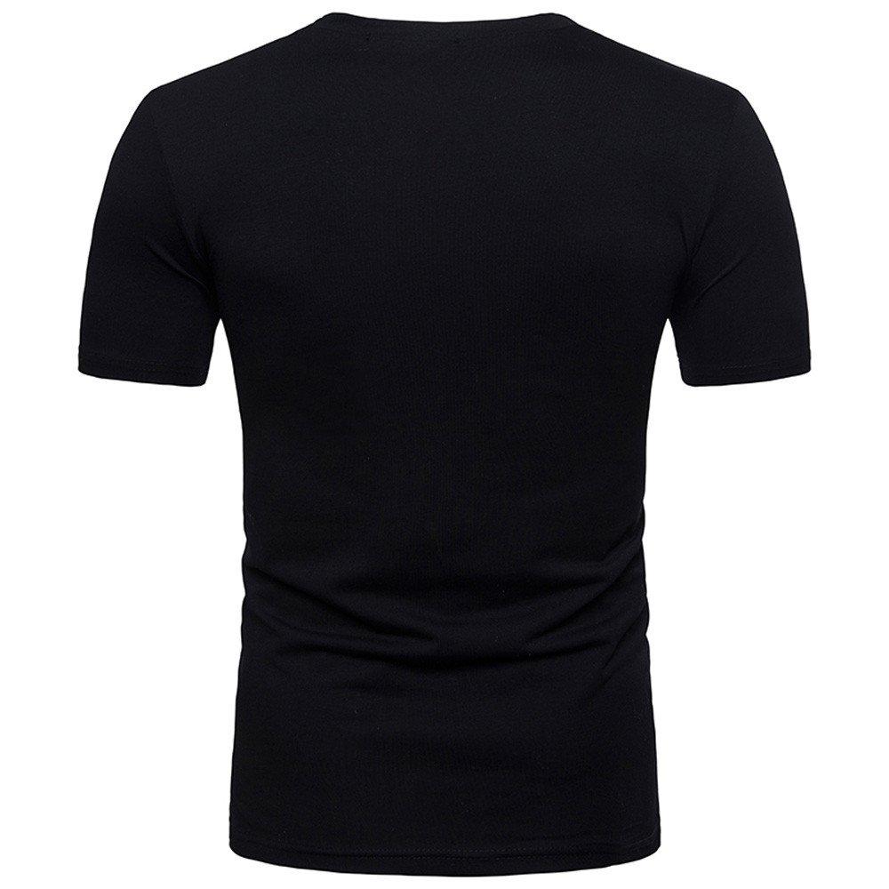 Casual Basic Slim Fit Musle Tops Blouse WUAI-Men Summer Tee Shirt Short Sleeve V-Neck Tee