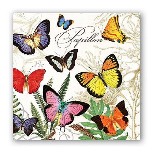 Michel Design Works 20-Count 3-Ply Paper Cocktail Napkins, (Butterfly Beverage Napkins)