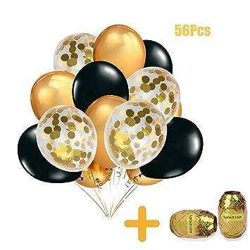 Makfort 56 Stück Luftballons Gold Schwarz Und Gold Konfetti Luftballons Mit Luftschlangen Für Geburtstag Hochzeit Party Deko Gold Schwarz Party