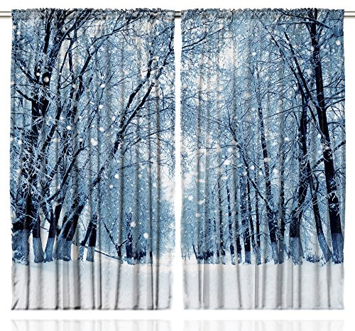- Ambesonne Forest Curtains, Snowy Trees Farmhouse Wildlife Woodsy Scenery Frosty Winter Park Winter Design, Living Room Bedroom Window Drapes 2 Panel Set, 108