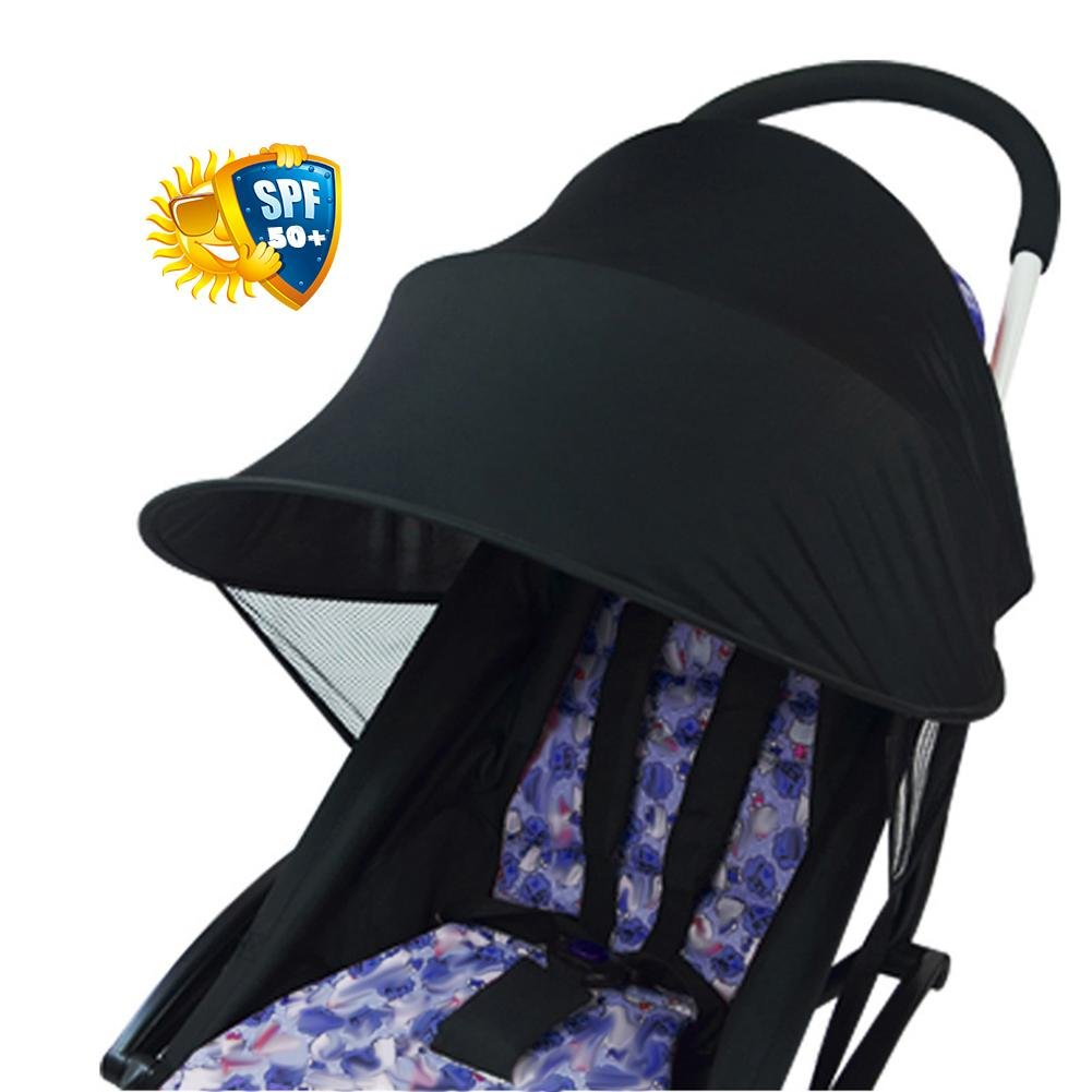 Yunt Baby Anti-UV Cloth Stroller Cover, Universal Stroller Sun Shade Canopy Cover (Black), Windproof Rainproof Sun Protection Shelter Universal Accessories
