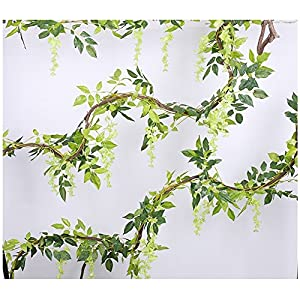 Artificial Flowers 3 Pcs 6.6ft Wisteria Garland Ivy Vine Silk Hanging Plants for Wedding Arrangements Outdoors Decorations Home Garden Party Decor Simulation Flower 4