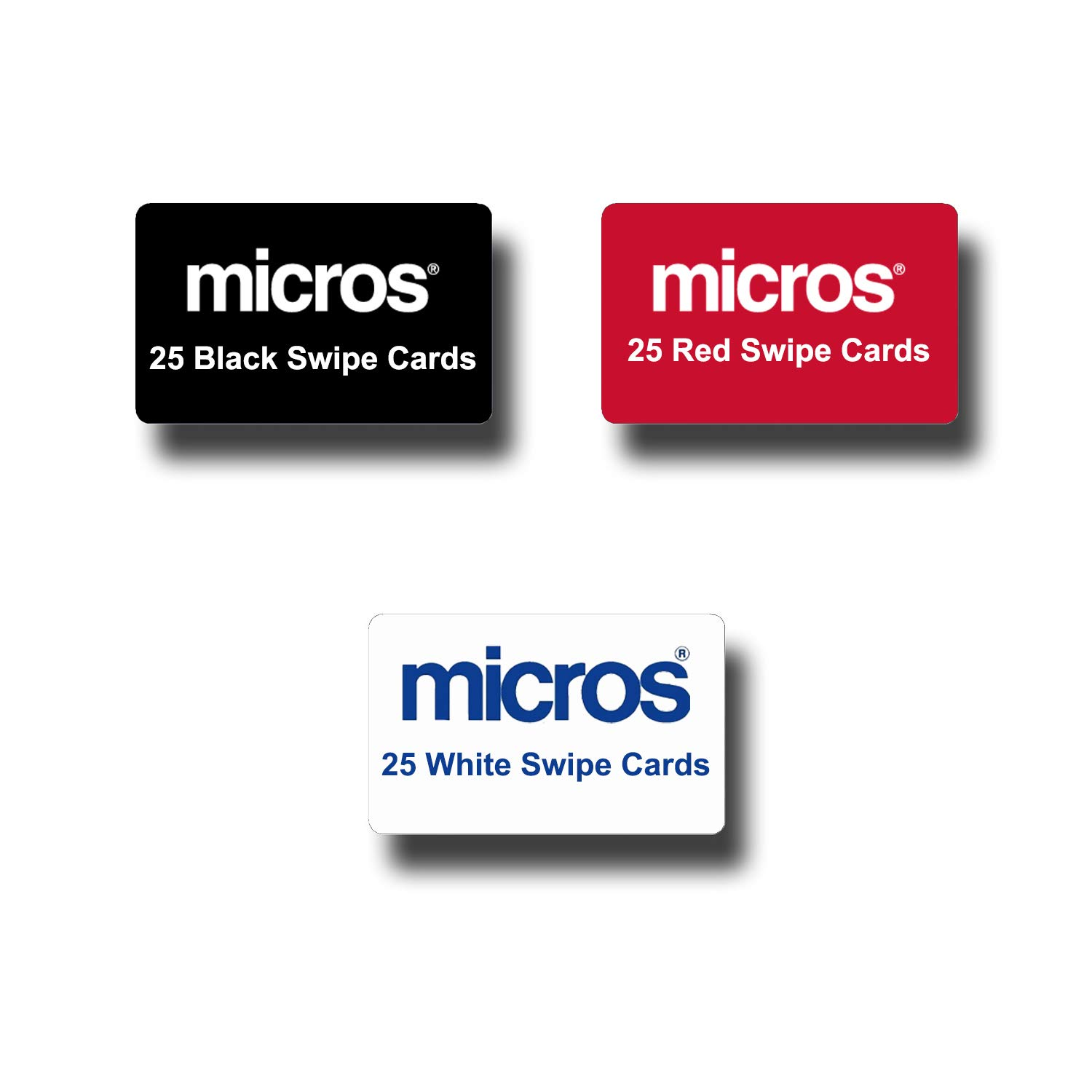 75 Micros POS Server Swipe Cards - 25 Black Cards, 25 Red Cards, 25 White Cards by 75pk POS-Depot