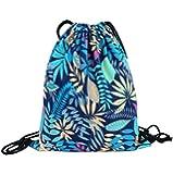 Sannysis bolsos de mujer con cordón, mochila infantil. Geométrico mochila de lona (Negro) (04)