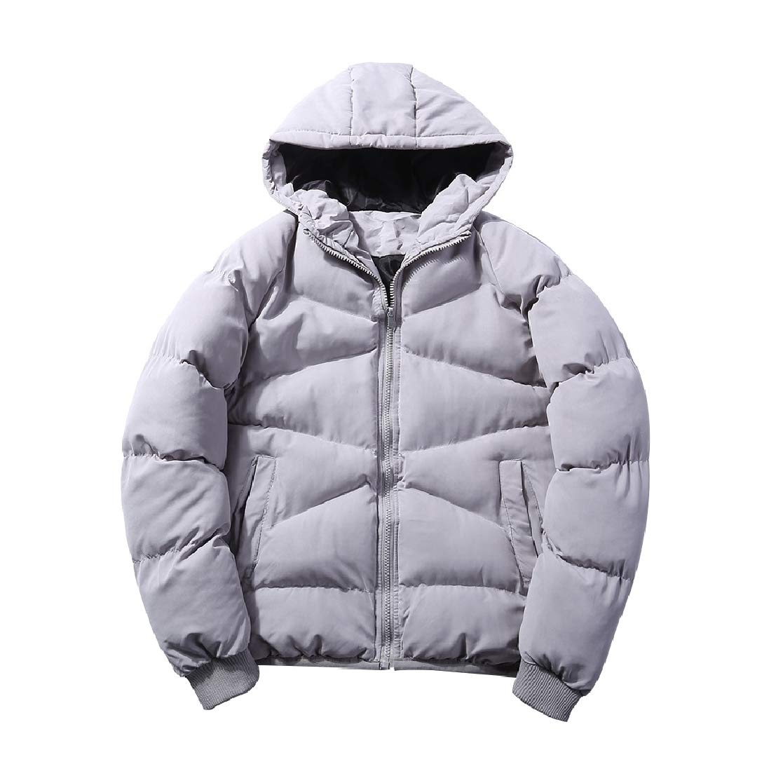 YUNY Mens Warm Oversize Hooded Lovers Zip-up Lounge Down Parka Light Grey 4XL