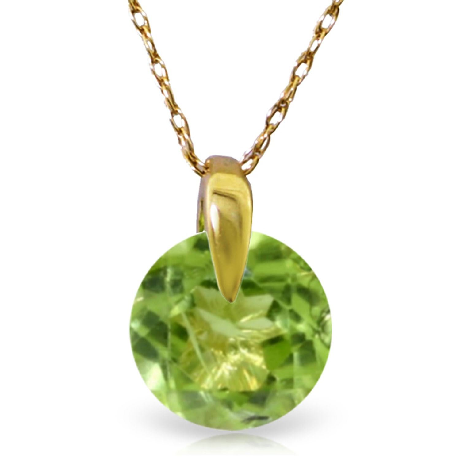 ALARRI 1 Carat 14K Solid Gold Wonders Of Love Peridot Necklace with 24 Inch Chain Length