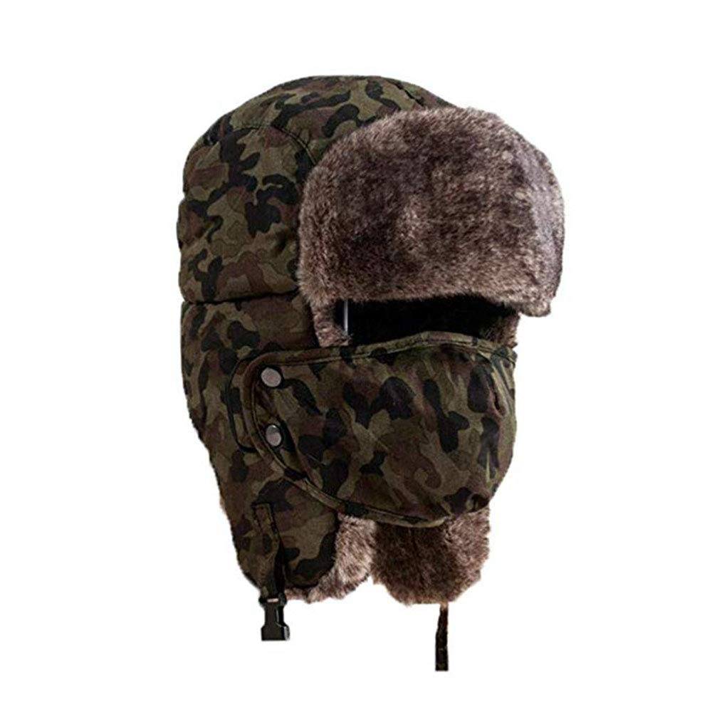 Holyhigh Unisex Winter Outdoor Trapper Trooper Aviator Ski Hat Earflap With Mask (Green Camouflage) by Holyhigh