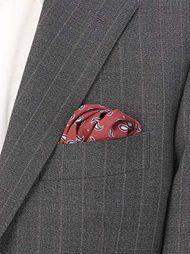 (ザ・スーツカンパニー) ペイズリープリント コットンシルクポケットチーフ ボルドー×ネイビー×ピンク