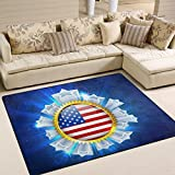 Custom American Flag July 4th Independence Memorial Day Patriotic Freedom Badge Area Rug Pad Non-Skid Kitchen Floor Mat for Living Room Bedroom 5'x7′ Doormats Home Decor For Sale