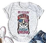 YUYUEYUE Im Feelin' Willie Friggin' Drunk T Shirt Women's American Flag Glasses Old Men Cute Tops (White,Large)