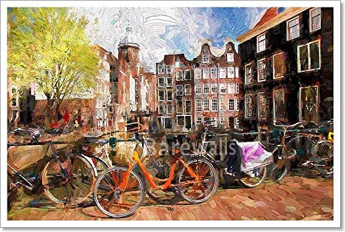 Vintage Dutch Holland Amsterdam bike canal Travel Poster Print painting old