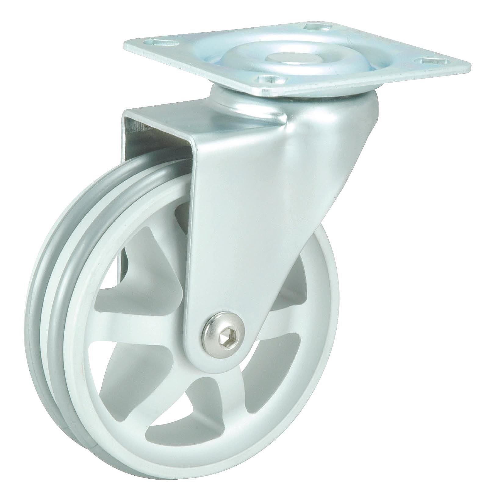 Richelieu Hardware - 87502010502 - Aluminum Double Ring Design Caster - Swivel Without Brake - Aluminum Finish